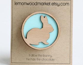 Easter bunny hair clip - Aqua wood bunny hair clip