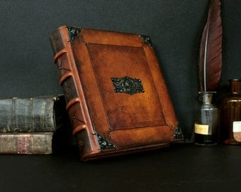 Leather Journal with Antiqued Pages, Rusty Brown Leather - Bohemian Dreams