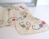 Vintage Linen Dresser or Bureau Scarf Hand Embroidered Bright Color Flowers Mid Century