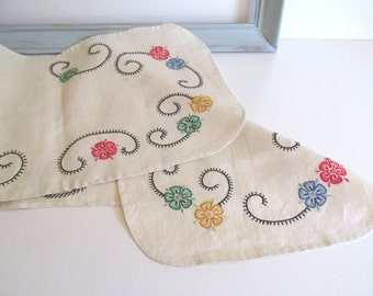 Vintage Linen Dresser or Bureau Scarf Hand Embroidered Bright Color Flowers Mid Century