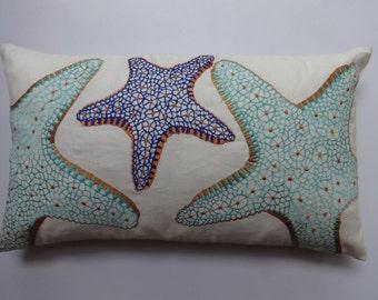 starfish pillow in aqua blue  cobalt and orange  pillow  12X22 inch coastal pillow  , nautical pillow. custom made