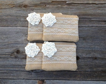 4 Wedding Clutches, Bridesmaid Gifts, Bridesmaid Clutches, Burlap Lace Wedding, Rustic Wedding Bag, Custom Clutch, Mother of the Bride Gift