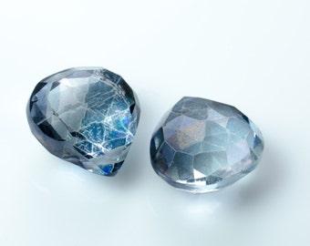 Blue Quartz Faceted Briolette Heart Beads
