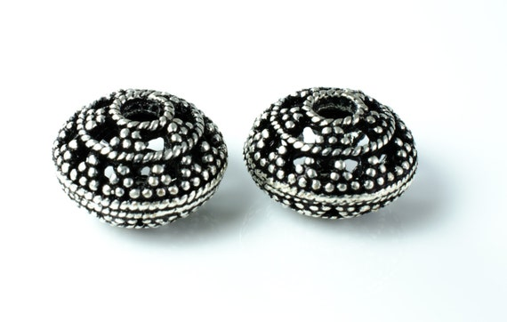 Ornate Granulated Silver Rondelle Spacer Bead