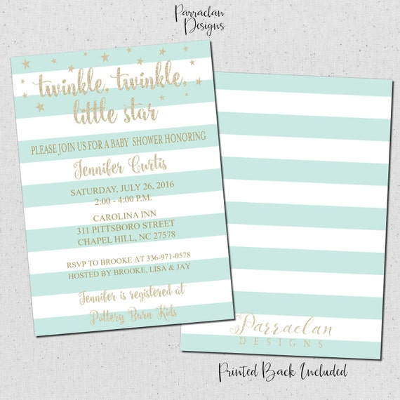 Twinkle Twinkle Little Star Baby Shower Invitation | Twinkle Twinkle Baby Shower Invitation | Glitter Invitation | Mint | Baby96