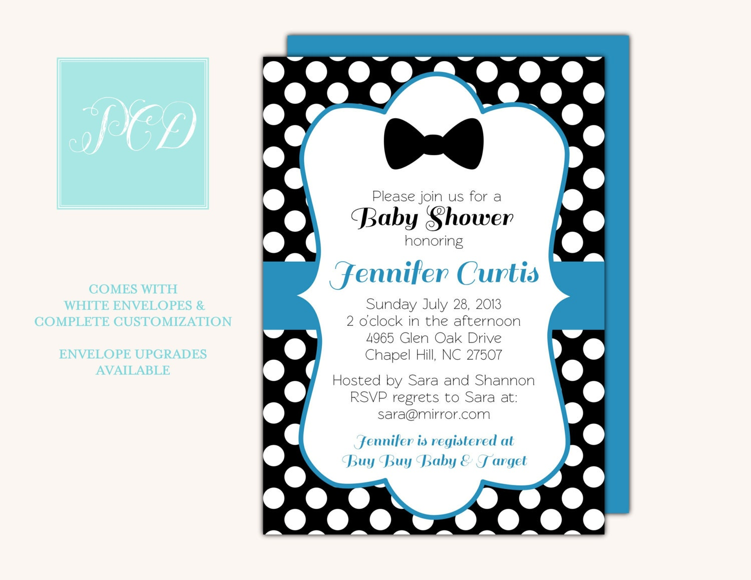 bow tie baby shower invitation polka dot baby by parraclandesigns