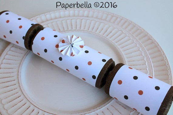 Fill Your Own Party Crackers Thanksgiving Orange Brown Polka Dot Party Popper, Personalize with Your Monogram and a Paper Rosette