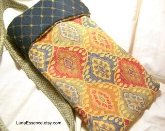Cross Body Handbag Fabric Bag Small Tote Recycled Upholstery Handbag Hobo Bag