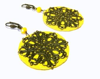 Sunshine Yellow Hand Painted Filigree Earrings Beaded Earrings One of Kind Jewelry Top Selling Jewelry Summer Earrings Gift Ideas