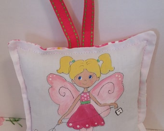 Tooth Fairy Pillow - Girl Fairy with blonde hair  - Hand Painted -  Add Name FREE