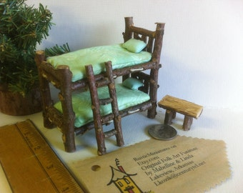 Half inch Scale Bunkbeds 7 piece Set Rustic Miniature Furniture  Table Ladder Bench Natural Woodsy green