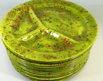Vintage Splatterware Divided Dinner Plates Sets of 6