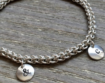 CUSTOM 1-3 Charms - Silver Charm Bracelet.  Handwoven. Initials and Symbols Available. Perfect gift for Mom, Daughter, Sister, Friend.