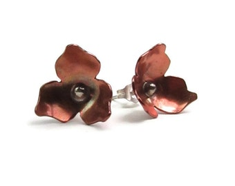 Trillium Copper and Sterling Silver Stud Earrings - Mixed Metal Stud Earrings - Flower Earrings - Trillium Ontario Earrings - E-002