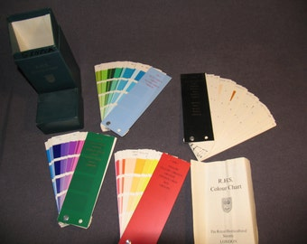 1966 Royal Horticultural Society 4 Colour Charts Color Flower Chart Vintage Box