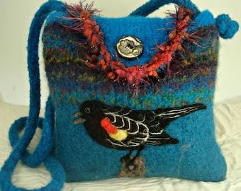 Felted Purse, Felted Handbag, Felted Bird Handbag, Red Wing Blackbird, Needle Felt Bird,Hand Knit Purse, Needle Felt Art, Bird Art