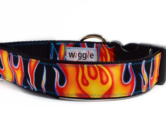 Hot Rod Flames handmade dog collar fire pinstripe christmas present gift made to order custom holiday shopping