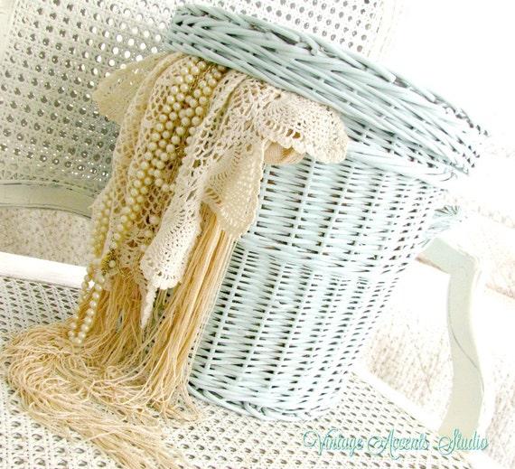 Vintage wicker basket round with lid nursery hamper - Round wicker hamper with lid ...