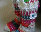 Adult's Crochet Tall Colorful Sock Slippers.  Custom Order Any Colors. Adult Sizes 6-13+.