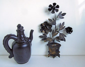 Vintage Mid Century Floral Wall Hanging | Kitsch Black Metal Flowers Wall Decor