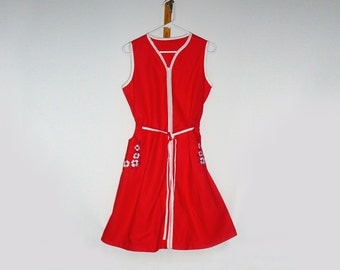 Vintage Dress/ Red Dress/ Summer Dress/ Cotton Dress/ Sleeveless Dress/ Hippie Dress/ Rockabilly Dress Retro Dress