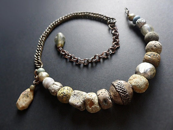 Stone Path. Rustic grey choker necklace.