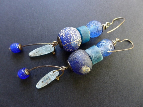Your Sorrow Unmasked. Rustic blue earrings.