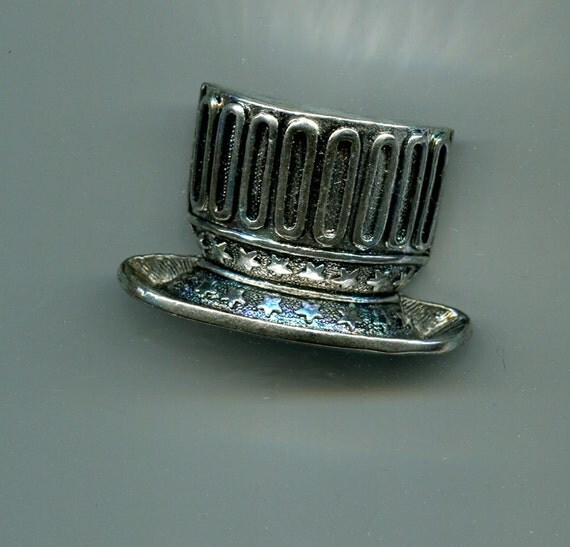 silver hat slide pendant, top hat charm metal 27mm x 30mm  #supply917