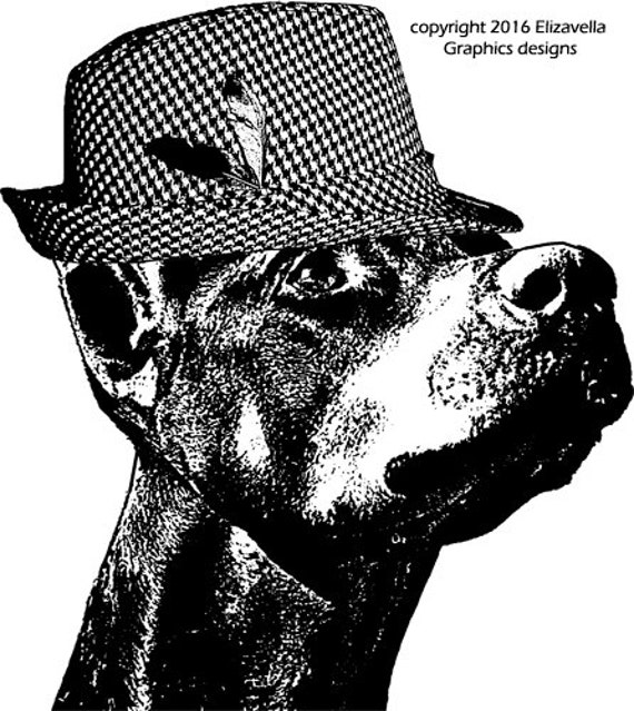 Doberman Pinscher dog wearing fedora hat clipart png clip art printable digi stamp Digital graphics Image Download animals pet images