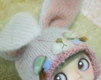 Jiajiadoll- hand knitting limited Pink bunny wonderland - pink Sleeping rabbit bunny helmet hat fits  Blythe / SD BJD Jerryberry YOSD imda