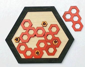 The Hive.  Wooden honeycomb puzzle.