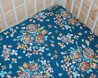 navy crib bedding-  floral fitted crib sheet / mini crib sheet/ changing pad cover - floral crib sheet-  baby girl bedding