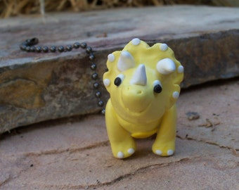 Dinosaur Ceiling Fan pull - Yellow Triceratops Fan Pull - Children's dinosaur room decor - Dino - Polymer clayy