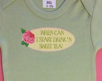 When Can I Start Drink'n Sweet Tea?/Baby Clothes/Baby Boys' Bodysuit/Baby Girls' Bodysuit/Baby Shower Gift/Toddler tee shirt