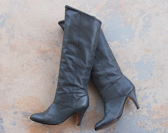 vintage 1980s Leather Boots - 80s Grey Leather Heeled Slouch Boots Cuffed Boots Sz 8 39