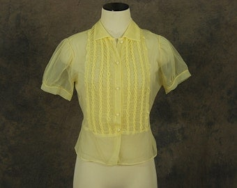 CLEARANCE Sale vintage 50s Sheer Blouse - 1950s Yellow Ruffled Nylon Shirt AS IS - Sz M