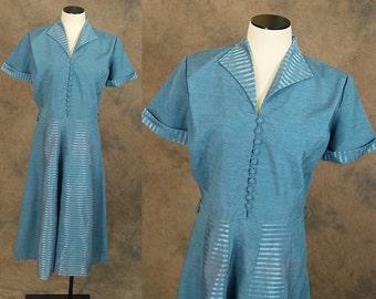 vintage 40s Dress - 1940s Cornflower Blue Striped Day Dress Shirtwaist Shirt Dress Sz M