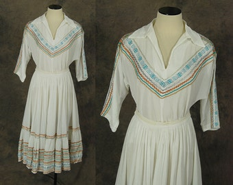 vintage 50s Western Dress - 1950s White Gauze Western Circle Skirt and Shirt - Mexican Squaw Patio Skirt Set Sz S