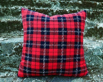 Red Wool Pillow Covers, Red Black Plaid Pillows, Red Wool Plaid Pillow, Christmas Pillows, Plaid Cushion, Christmas Decor, 18x18, SALE