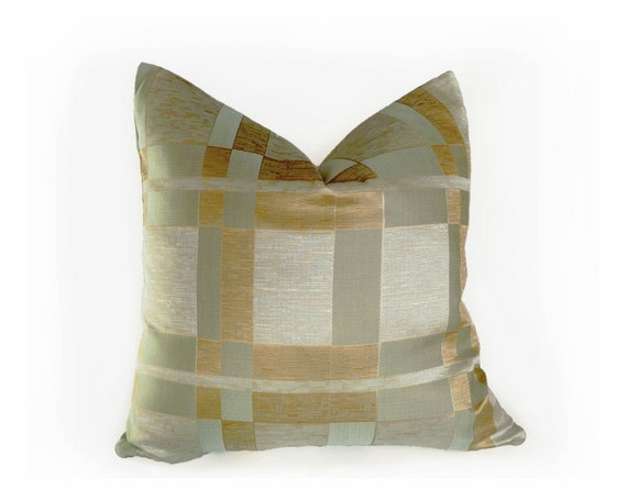 Modern Silver Pillows : Aqua Blue Gold Modern Pillow 20x20 Blue Gold Silver Cushion