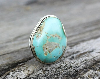 Reserved- Down Payment -Royston Turquoise 14k Gold Ring with Argentium Silver