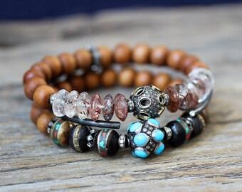 Turquoise Diamond Tibetan Bone Boho Bracelet, Statement Bracelet, Sleeping Beauty, Tibetan Inlaid Bone, Coral, Sandalwood, Bohochic Bohemian