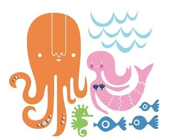 "SHOPWIDE SALE SALE! 15% Off 12X12"" octopus garden giclee art print on fine art paper. pink, blue, green, brunette."