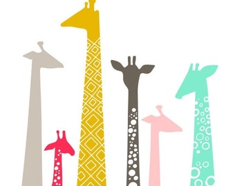 "SHOPWIDE SALE 8X10"" modern giraffe silhouettes giclee print on fine art paper. bright mint, pink, mustard, gray"