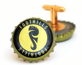 Gold Foothills Beer Bottle Cap Cuff Links Cufflinks