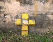 RESERVED, Road Reflector Wall Cross, Original Art, Non Religious Cross, Industrial Salvaged, Junk Wall Art, Found Object Art,Hall Wall Decor