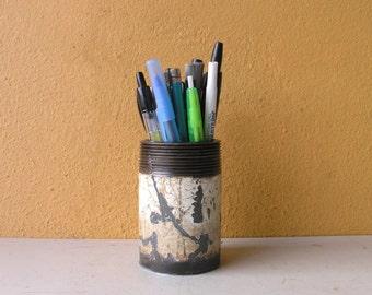 Metal Pencil Holder, Makeup Brush Holder, Boyfriend Gift, Office Organizer, Industrial Decor, Industrial Style, Desktop Accessory