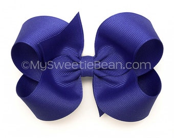 "Blue Violet Boutique Bow, Indigo Hair Bow, Pansy, 4 inch Twisted Boutique Bow, 4"" No Slip Hairbows for Baby, Toddler, Girls, Large 4"" Bow"