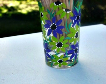 Toothpick Holder, Hand Painted Glass, Glass Toothpick Holder, Table Decoration, Hand Painted Lime Green and Purple Flowers