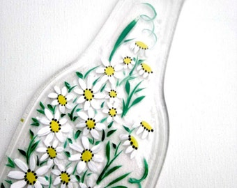 Spoon Rest, Kitchen Trivet,  Melted Clear Beer Bottle,  Hand Painted White Daisies,  Candle Holder